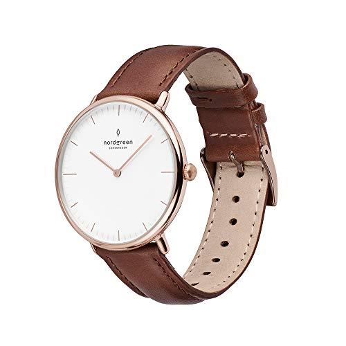 Nordgreen Native skandinavische Uhr in Roségold mit weißem Ziffernblatt und austauschbarem 36mm Leder Armband Braun 10055