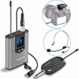 Wireless Headset Lavalier Microphone System -Alvoxcon Wireless Lapel Mic Best for iPhone, DSLR Camera, PA Speaker, YouTube, Podcast, Video Recording, Conference, Vlogging, Church, Interview, Teaching