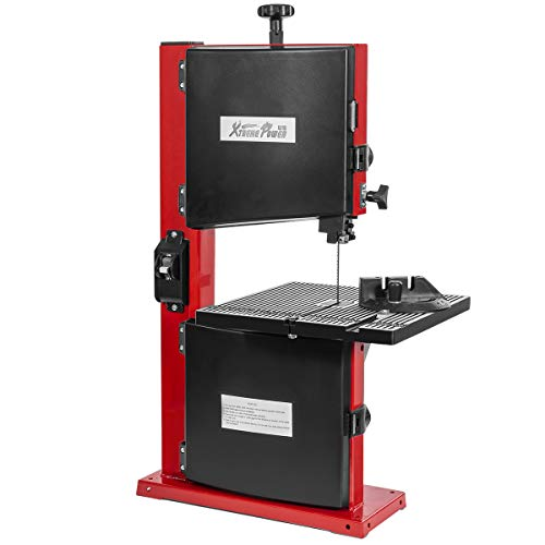 """XtremepowerUS 9"""" inch Pro Benchtop Band Saw Stationary Adjustable Angle Woodworking 2,340FPM Bandsaw w/Dust Port, Red"""