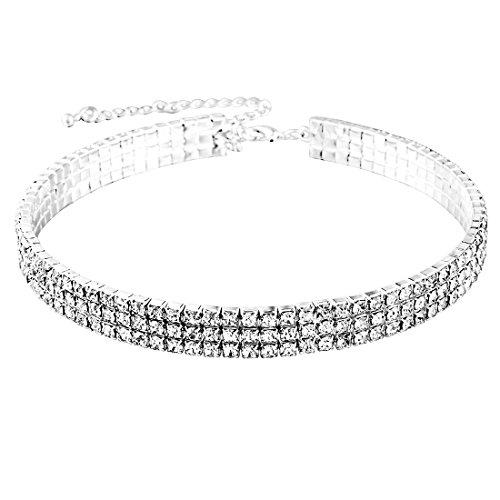 MJARTORIA Damen Halskette Silber Farbe Choker Tattoo Kette mit CZ Kristall Anhänger Pullover Kurz Kette (Silber- Dreireihig)