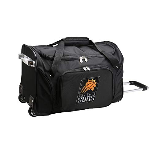 Denco NBA Phoenix Suns Wheeled Duffel Bag, Black, 22 x 12 x 5.5 (NBSUL401)