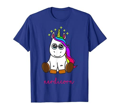 Divertido unicornio nerd lindo Nerdicorn. Regalo de niña Camiseta