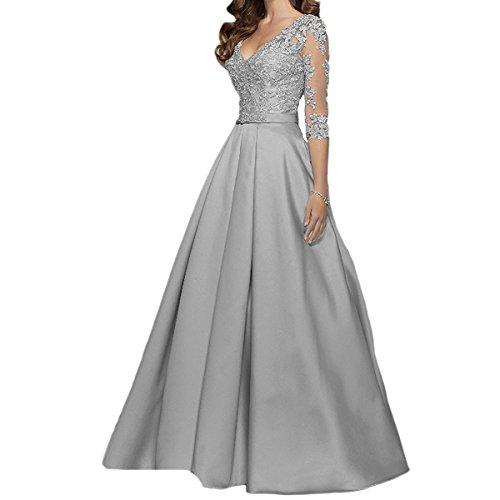 LuckyShe Damen A-Linie Spitze Abendkleider Ballkleid Hochzeitsgäste mit Ärmeln Lang