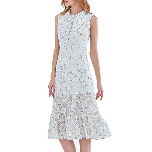LLYA Vestido de la muñeca de la Longitud Media de la Primavera Single-Breasted Bordado Floral Ruffled Slim Fit Hip Dress,Light Green,S