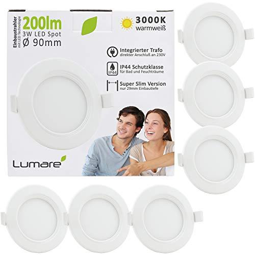Lumare LED Einbaustrahler 3W 230V IP44 Ultra flach 6er Set Wohnzimmer, Badezimmer Einbauleuchten weiss, 68mm EinbauØ, 29mm Einbautiefe Mini Slim Decken Spot warmweiß