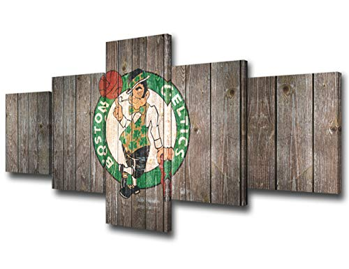 TUMOVO Boston Celtics Wall Decor Art Paintings 5 Piece Basketball Sports Canvas Pictures Artwork for Living Room NBA Prints and Poster Rustic Home Decoration Wooden Framed Ready to Hang(50' Wx24 H)