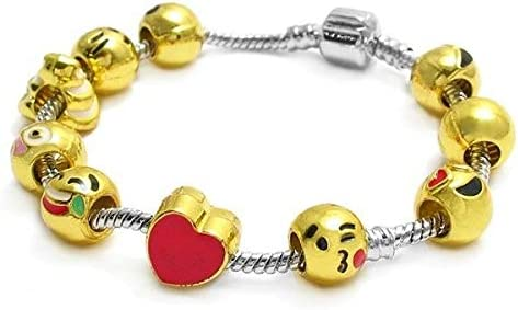 Snake Chain Euro Award-winning store Outlet SALE Style Gold Emoji Sterling Si Bracelet Charm 925