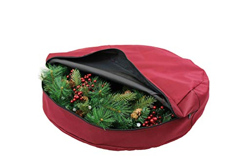 612 Vermont Christmas Wreath Storage Bag Container, Woven Polyester Fabric, Padded Handle with Carabiner Clip for Suspension Hanging (36 Inch)