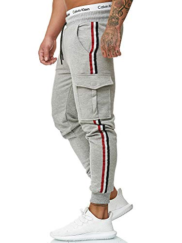 OneRedox Herren | Jogginghose | Trainingshose | Sport Fitness | Gym | Training | Slim Fit | Sweatpants Streifen | Jogging-Hose | Stripe Pants  Modell 1318 Grau M