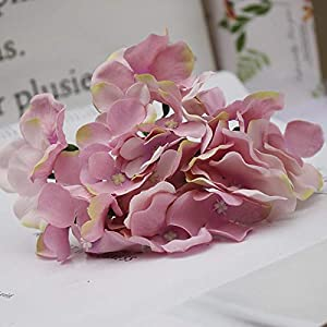 Silk Flower Arrangements Artificial and Dried Flower Artificial Hydrangea Bouquet Flower Silk Flowers with Free Stem for Home Wedding DecorationUSJ99 - ( Color: Lilac )