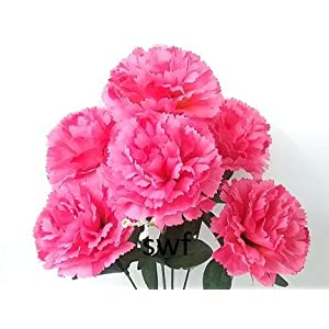 14.5″ Carnations Silk Wedding Flowers Bridal Bouquets Centerpieces Home Party Decorations 6 Carnations