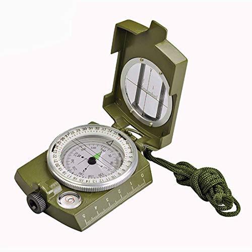 WWTTE DC60-2A Außenmultifunktions-Militär Reise Geologie Taschen Prismatic amerikanisches Kompass mit Leuchtanzeige (Armee-Grün) 2O