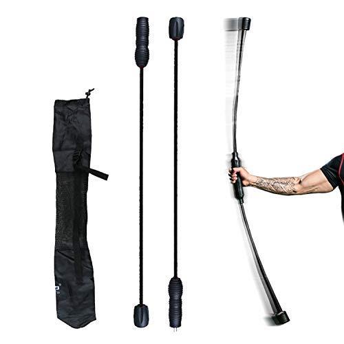 JEEZAO Flexibar Swingstick, Schraubgewinde, Schwingstab -Gymnastik für Zuhause Ideal für Unterwegs und auf Reisen Doppelteil, Abnehmbar, 160cm (Schwarz)