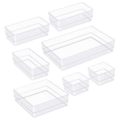 TrendGate 7 Stücke Getrennte Schublade Organizer Ordnungssystem, Aufbewahrungsboxen Stoffkasten Schubladeneinsatz Make-up Organizer 4 Größen für Kosmetik Schminktisch Schreibtisch Büro Küche