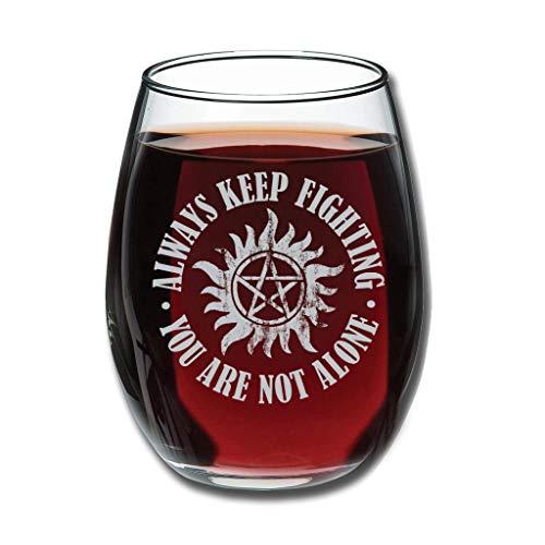 Taza de vino con grabado personalizado con texto en inglés 'Always Keep Fighting You are not Alone', ideal para esposa, mujer, amigas, compañeros de trabajo, clientes, color blanco 350 ml