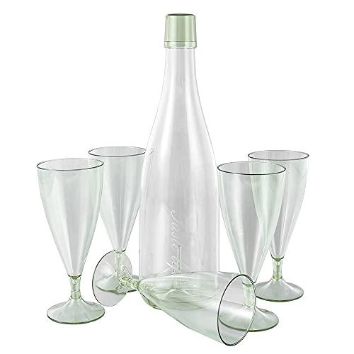 YLL Conjunto de combinación de Copa Redonda apilable al Aire Libre Portátil Portátil Cóctel Cristal Vino Transparente Bebida Frío Jugo Cerveza (Color : Verde)