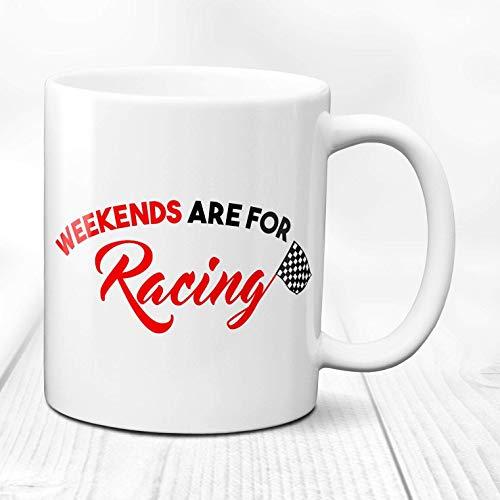 N\A Fines de Semana de Carreras Idea de Regalo de Carreras de Coches GIF de Carreras de Coches Ruedas de Carreras Carreras de Coches Deportivos Taza de Regalo de Carreras de Coches