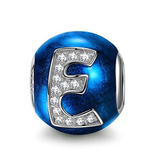 NINAQUEEN Charm para Pandora Charms Originales Plata 925 Letra E Azul Colgantes...