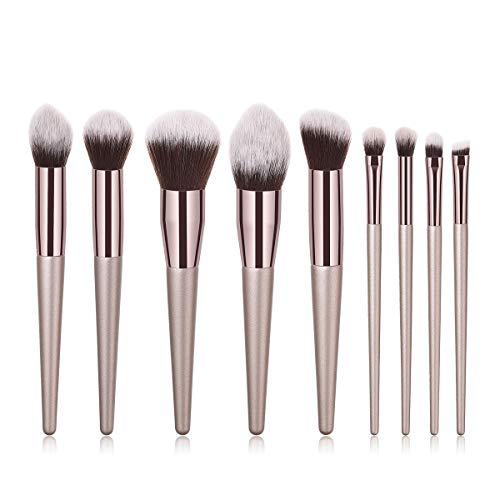 Lot de 9 pinceaux de maquillage pour fard à paupières, poudre, sourcils, outils de beauté Champagne doré