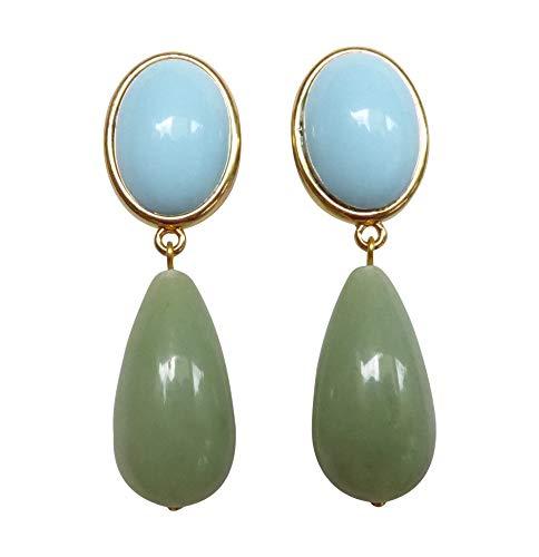 Türkis-grüne, leichte sehr große Ohrstecker Ohrringe vergoldet Stein türkis-blau Anhänger jade-grün tropfen-förmig Geschenk für Frauen JUSTWIN