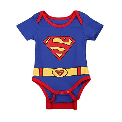 Strampler Set Junge, 2019 heißer Baby Jungen Kurzarm Superman Strampler Hut Schuhe & Socken dreiteilige Kleidung Set (G, 6-12 Monate)