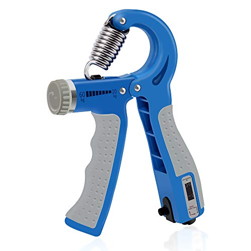 WFFIT Adjustable Hand Grip Strengthener Hand Exerciser,Grip Strengthener Workout Finger Exercise Strength Trainer NonSlip Handles Upgraded Version Automatic Counting Blue