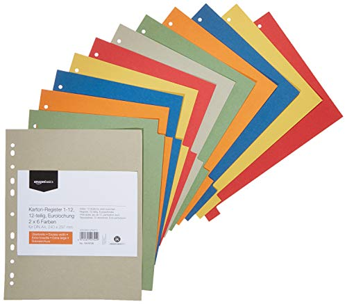 AmazonBasics – Register, aus recyceltem Manilapapier, gelocht nach europäischem Standard, extrabreit, 24 x 29,7cm, A4, 230g/m², 12Tabs in 6Farben