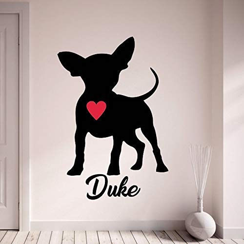 Chihuahua Wandtattoo Personalisieren Sie Mit Dem Namen Ihres Hundes Wandaufkleber Mit Rotem Herzen Haustier Hund Home Decor Art Wandbild Für Schlafzimmer56 * 70Cm