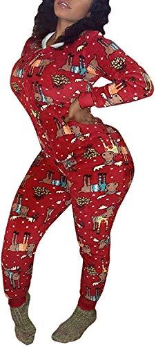 ASKSA Frauen Weihnachten bedruckter Einteiler mit Kapuze Hauskleidung Nachtwäsche...