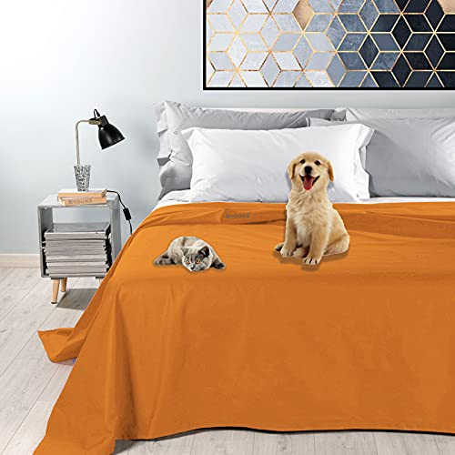 Byour3® Colcha Impermeable para Cama De Matrimonio Tela Decorativa De Algodón Antimanchas Lavable Resistente Manta Antipelo Animales Gatos Perros Arañazos (Naranja, 230 x 300 cm Cama 135)