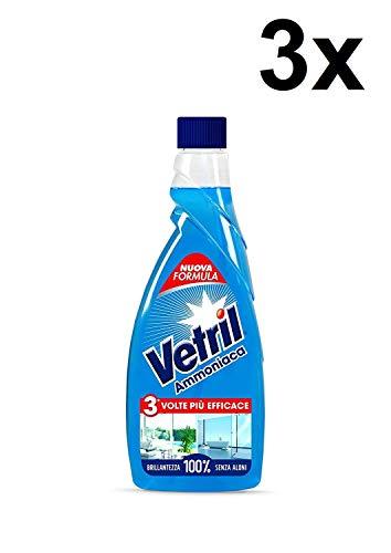 3x Vetril Ammoniaca Vetri - Detergente per vetri, 650 ml x 3 = 1950ml