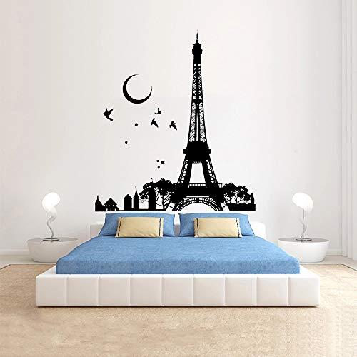 HGFDHG Torre de Francia decoración de Oficina Pared Luna Noche pájaros y pájaros Hermosa Vista Vinilo Pegatinas de Pared decoración de Dormitorio