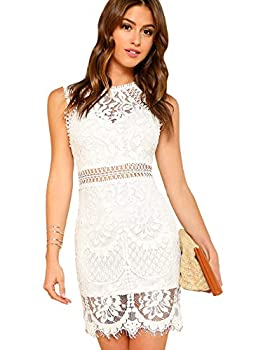 Verdusa Women s Sleeveless Scalloped Hem Fitted Floral Lace Bodycon Dress White XS