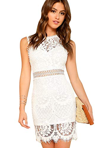 Verdusa Women's Sleeveless Scalloped Hem Fitted Floral Lace Bodycon Dress White M