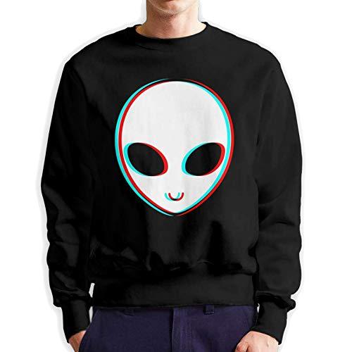 YLMFPCAX Trippy Alien Crewneck Sweater Long Sleeve Sweatshirt for Man Black