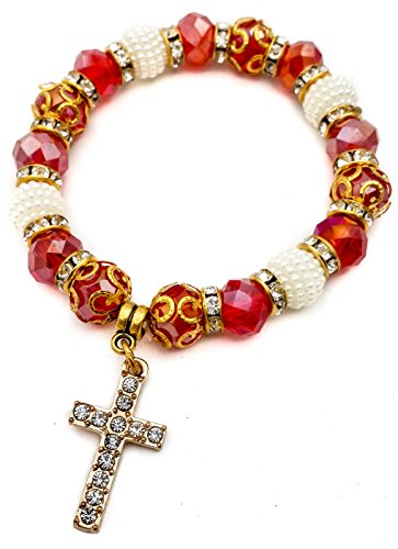 Religious Cross Bracelet Rosary By Nazareth Store Red Crystal Beads Wrist Bangle Sacred Catholic Gift Christian Jewelry For Women, Teen Girls, Boys And Men