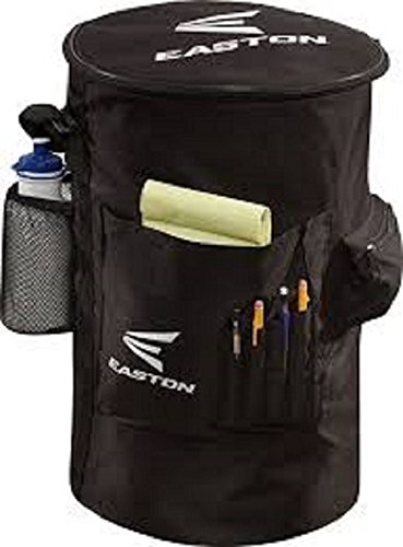 EASTON COACH'S Slip Over Bucket Organizer Cover, Black, Padded Seat Top, Organization Panel For Scorecard, Notebook, Line Up Card, Pens, Water Bottle, Plus Carry Strap