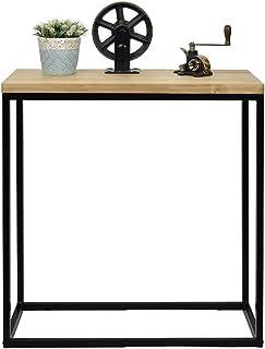 Table d'entree Console iCub Big Wood Industriel Vintage Bois 3cm et métal Noir 70x35cm. 80cm Haute