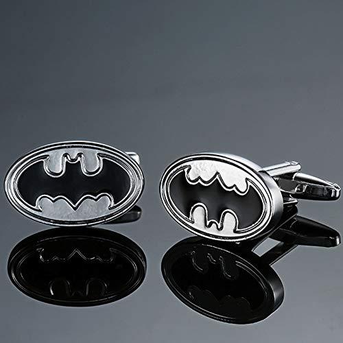 SSHDZS High-End-Manschettenknöpfe Herrenhemd Manschettenknöpfe Qualität Kupfer Material Flag Logo Manschettenknopf Mode Herren AccessoiresSilber Batman