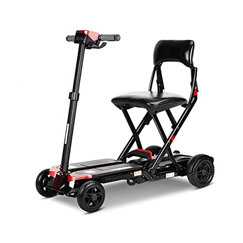 PUEEPDEE Plegable 4 Ruedas Scooter Eléctrico para Personas Mayores Minusvalido Silla de Ruedas eléctrica para discapacitados Patinete eléctrico Ligero Portátil Scooter Movilidad para Viaje Aire Libre
