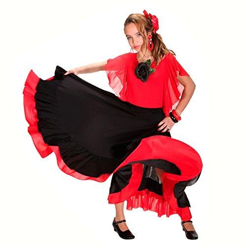 Falda Baile Flamenco Infantil Volante Rojo 8 años