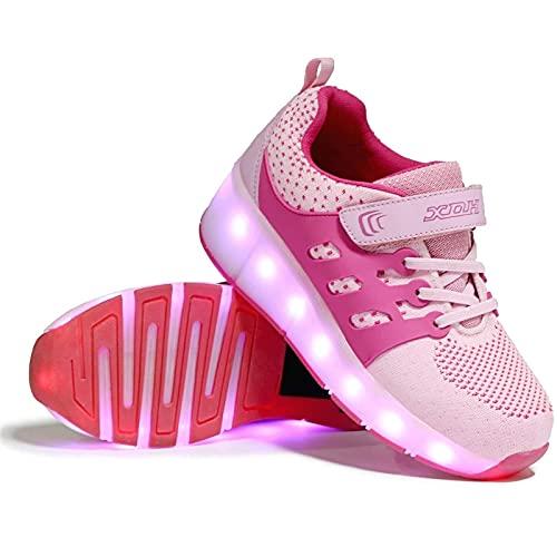 Zapatos Patines Deportes Zapatos, LED Flash Zapatos de Roller Ajustable Rueda AutomáticaCalzado de Skateboarding Deportes de Exterior Patines en Línea Brillante Mutilsport USB Carga Zapatillas