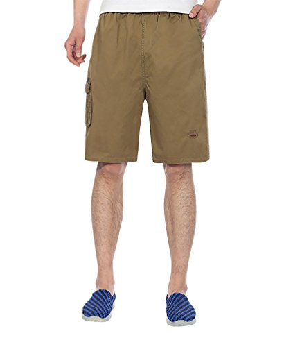 Baymate Beach Short Casual Sports Poches Multiples Boardshorts pour Homme Kaki 2XL