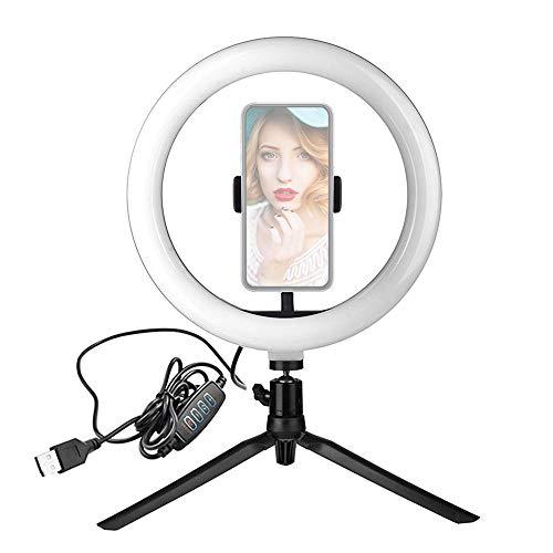 Flytise Luz de Anillo LED de 10 Pulgadas Luz de Relleno de Belleza Regulable 3 Modos de iluminación 3000K-6500K Alimentado por USB con Adaptador de Cabeza esférica Soporte para teléfono Soporte