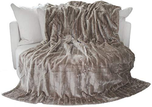 Auro Hochwertige Kuscheldecke-Felldecke für Wohn- und Schlafräume, 200x150 cm, Taupe-grau