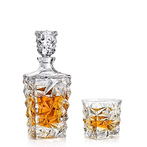 Bohemia Whisky-Set Geschenk-Set GLACIER Kristall Karaffe + 2 Gläser