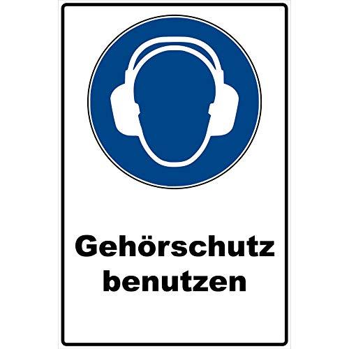 Schild Gehörschutz benutzen Schild Gebotszeichen blau 30 x 20 x 0,3 cm Hartschaumplatte