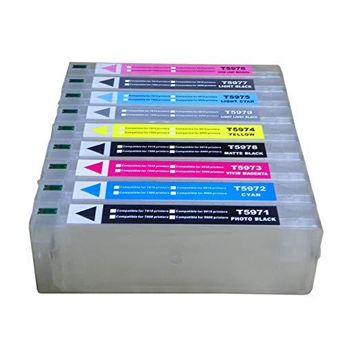 WSCHENG Cartucho de Tinta Recargable de 700 ml de 9pcs + 1pc Chip Resetter para Epson Stylus Pro 7890 9890 7908 9908 Impresora