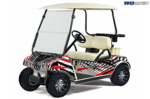 Wholesale Decals Golf Cart Graphics kit Sticker Decal Compatible with Club Car 1983-2014 - Slash and Burn