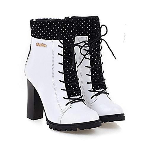 Dameslaarzen Knuffelige hak puntige teen PU halverwege kalf laarzen herfst winter zwart/wit/rood